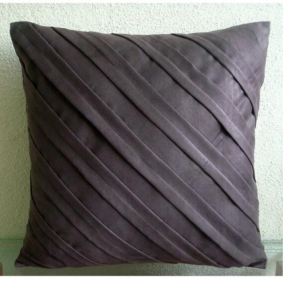 Contemporary Chocolate Brown - Throw Pillow Covers - 18x18 Inches Suede Pillow Cover in Chocolate Brown