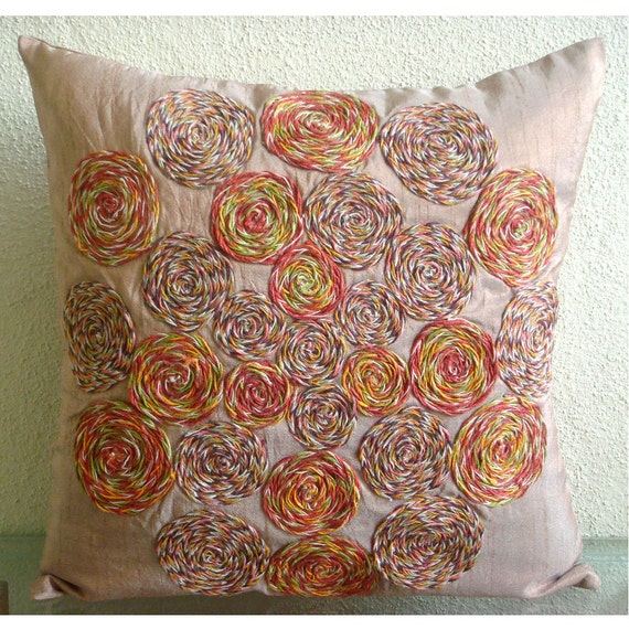 Spring Dance - Pillow Sham Covers - 24x24 Inches Silk Pillow Sham Cover Embroidered with Jute Cord