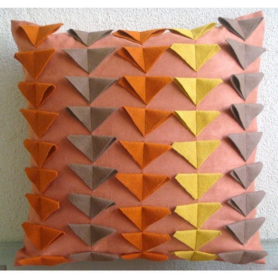 Warm Glow - Euro Sham Covers - 26x26 Inches Suede Euro Sham Cover with Felt Triangles