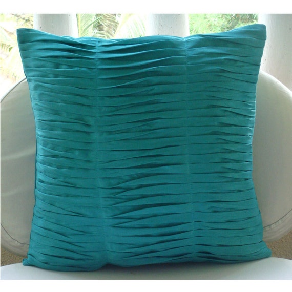 Decorative Throw Pillow Covers Couch Pillow Case Sofa Toss Pillows 18x18 Inch Blue Silk Pillow Cover with Pintucks Home Decor Gentle Waves