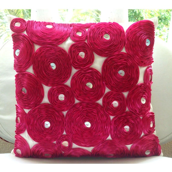 Decorative Throw Pillow Covers Accent Couch Toss 20x20 Inch Fuchsia Silk Pillow Cover Satin Ribbon Embroidery Home Living Decor Vintage Joy
