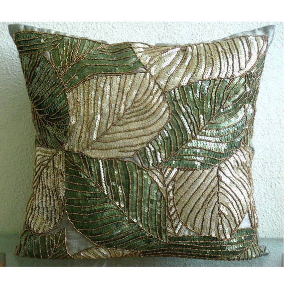 Green Camoflague - Euro Sham Covers - 26x26 Inches Silk Euro Sham Cover with Sequin Embroidery