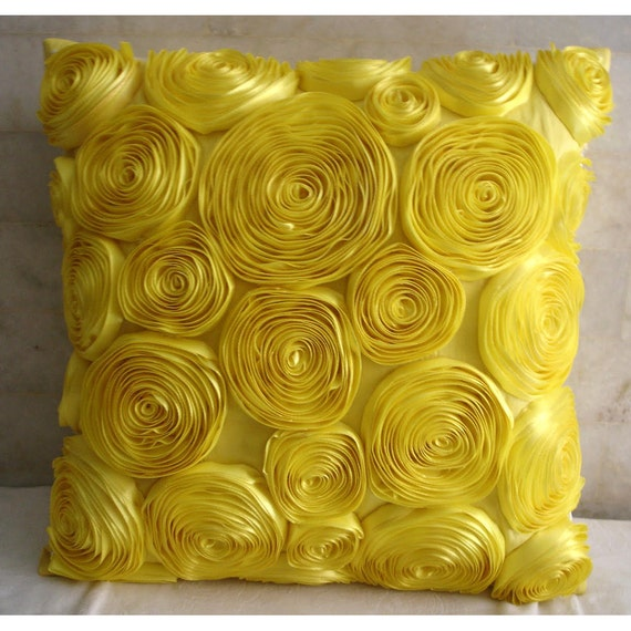 Yellow Throw Pillows Cover 16x16 Silk Pillows