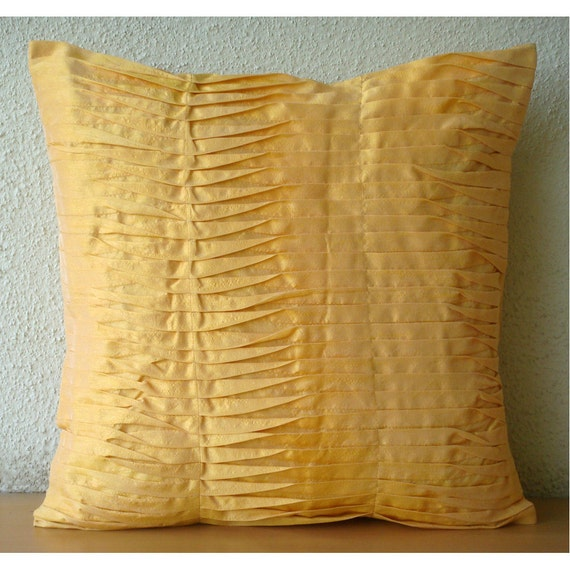 Mango Souffle - Pillow Sham Covers - 24x24 Inches Silk Pillow Sham Cover with Pintucks