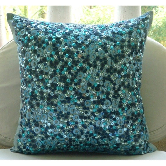 Decorative Throw Pillow Covers Accent Pillows Couch Bed Pillows 16x16 Blue Pillow Silk Pillow Case Bead Embroidered Home Decor Sea The Dream