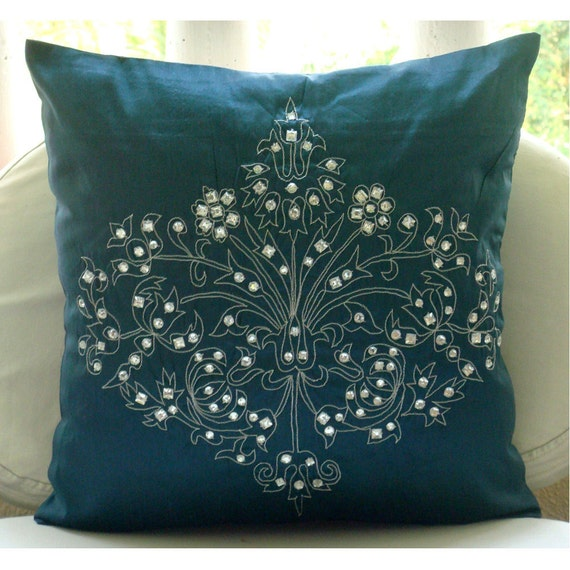 Teal Damask  - Throw Pillow Covers -  20x20 Inches Pillow Cover with Damask Embroidery