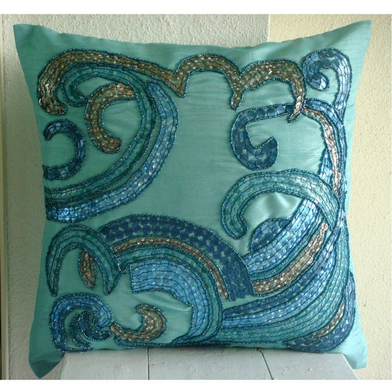 "Handmade  Sequins & Beaded Beach And Ocean Theme Pillows Cover, Aqua Blue Decorative Pillow Cover Silk Pillows Cover, Square  20""x20"" -Tides"