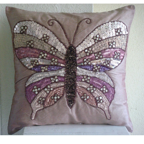 Butterfly Love - Pillow Sham Covers - 24x24 Inches Silk Pillow Sham  Cover Embroidered with Sequins and Beads