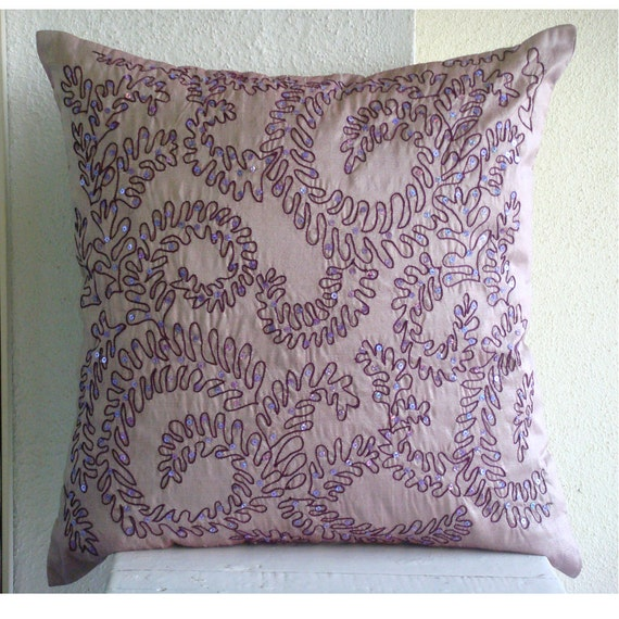 Decorative Throw Pillow Covers Accent Pillow Couch 18x18 Couch Toss Sofa Pillow Cover Silk Embroidered Purple Ivy Bedroom Bedding Housewares
