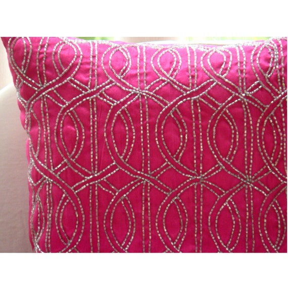 Fuchsia N Silver  - Throw Pillow Covers - 20x20 Inches Silk Pillow Cover Embroidered with Silver Beads