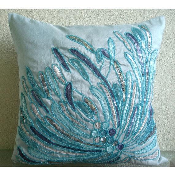 "Designer  Blue Decorative Pillow Cover, Aqua Sequins And Beaded Beach And Ocean Theme Pillows Cover 18""x18"" Silk Pillows Cover - Water Burst"
