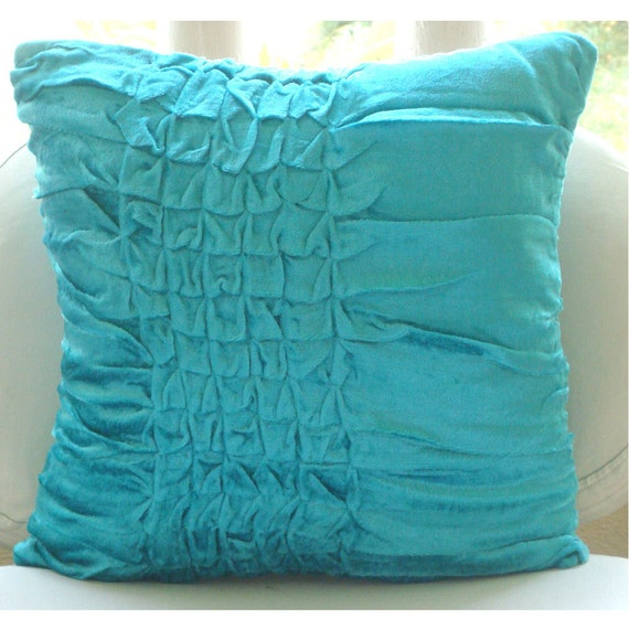 Turquoise Knots - Euro Sham Covers - 26x26 Inches Euro Sham Cover in Turquoise Velvet