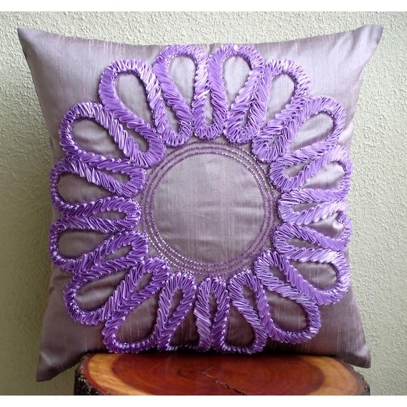 "Purple Decorative Pillows Cover,  Square  Ribbon Flower Medallion Floral Theme 16""x16"" Silk Throw Pillows Cover - Purple Blossom"