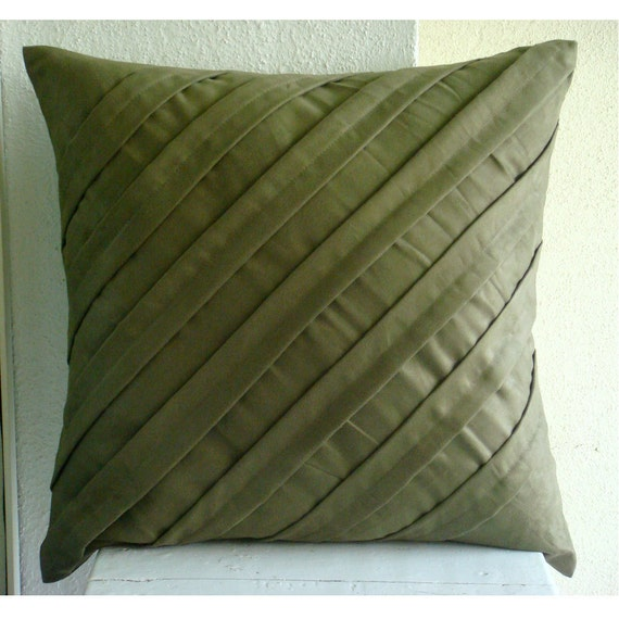 Contemporary Olive Throw Pillow Covers 18x18 Inches Suede