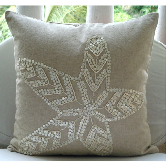 Decorative Throw Pillow Cover Accent Pillow Couch Sofa Toss Pillows 18x18 Natural Beige Linen Pillow Case Pearl Embroidered Starfish Pearls