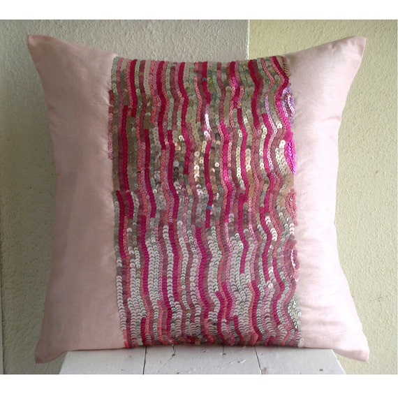 Decorative Throw Pillow Cover Accent Pillow Couch Sofa Toss 18x18 Inches Pillow Cover Silk Dupioni Embroidered with Sequins Pink Angel Home