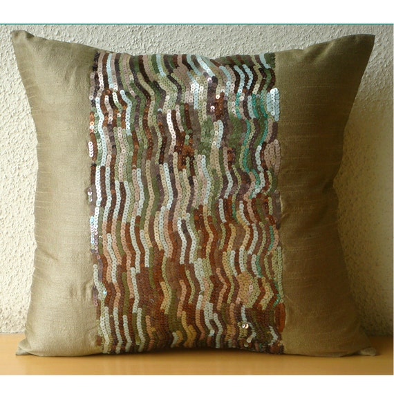 Earthy Delight - Euro Sham Covers - 26x26 Inches Silk Euro Sham Cover Embellished with Sequins