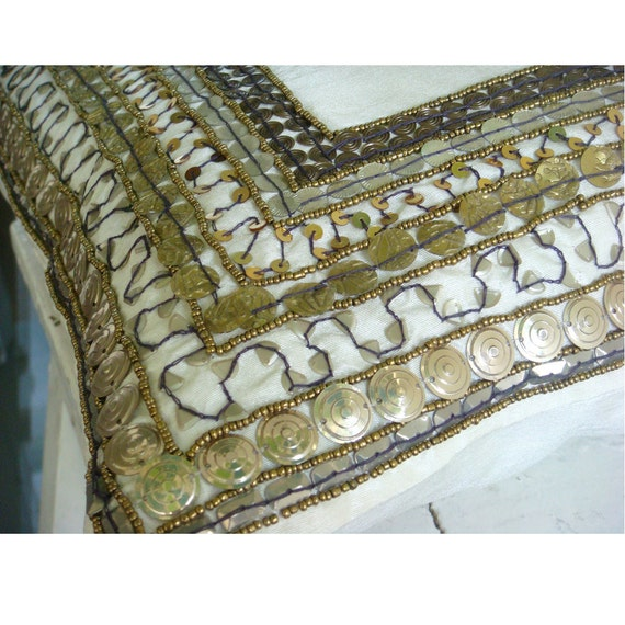 Ivory Treasure - Euro Sham Covers -26x26 Inches Ivory Silk Dupion with Antique Accents