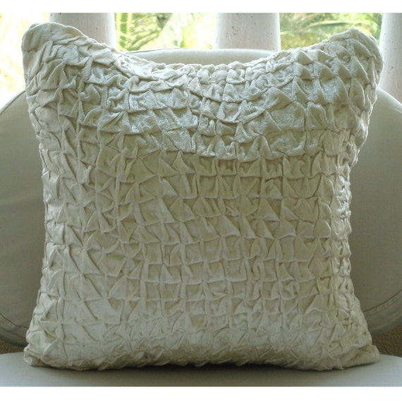 Soft Decorative Throw Pillows : Handmade Textured Knotted Pillows Cover Ivory Pillow Covers