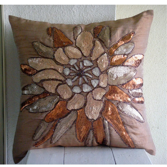 "Designer Brown Throw Pillow Covers, 16""x16"" Silk Pillow Covers, Square  Sequins & Beaded Flower Floral Theme Pillows Cover -Spark Attraction"