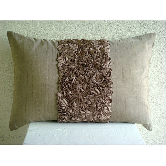 Decorative Oblong Lumbar Throw Pillow Cover Accent Pillow Couch Bed Sofa 12x16 Inch Brown Silk Ribbon Embroidered Home Champagne