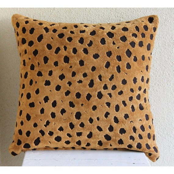 Decorative Throw Pillow Covers 16x16 Inch Terry Towel, Burnout Velvet Animal Pillows, Accent Pillows Couch Sofa Pillows Wild Leopard Spots
