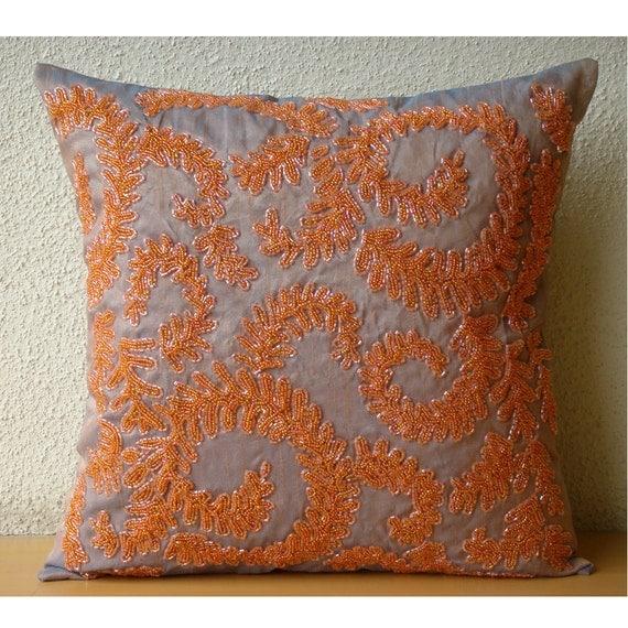 "Designer Orange Pillow Covers, 16""x16"" Silk Pillows Cover, Square  Beaded Garden Rail Pillows Cover - Orange Whirlwind"
