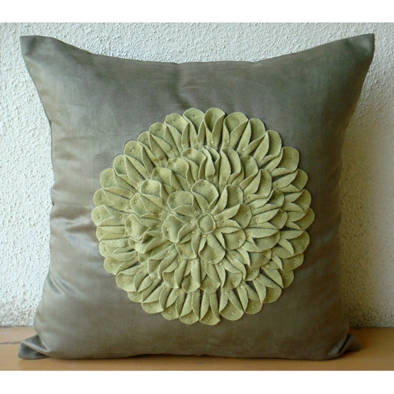 "Designer Green Pillow Cases, 16""x16"" Faux Suede Throw Pillows Cover, Square  Dahlia Flower Floral Theme Pillows Cover - Green Dahlia"