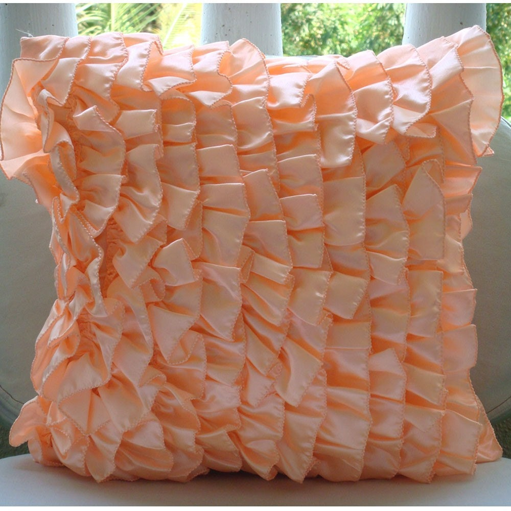 Peach Decorative Throw Pillows : Peach Pillow Covers Square Vintage Style Ruffles Shabby