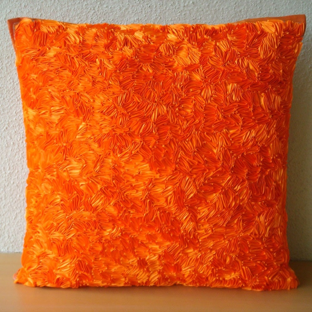 Orange Peel Throw Pillow Covers 20x20 Inches Silk Pillow