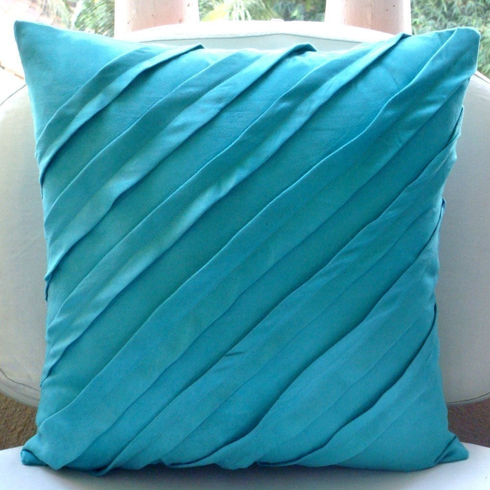 Decorative Pillows In Turquoise : Turquoise Blue Pillow Covers Square Textured Pintucks Solid