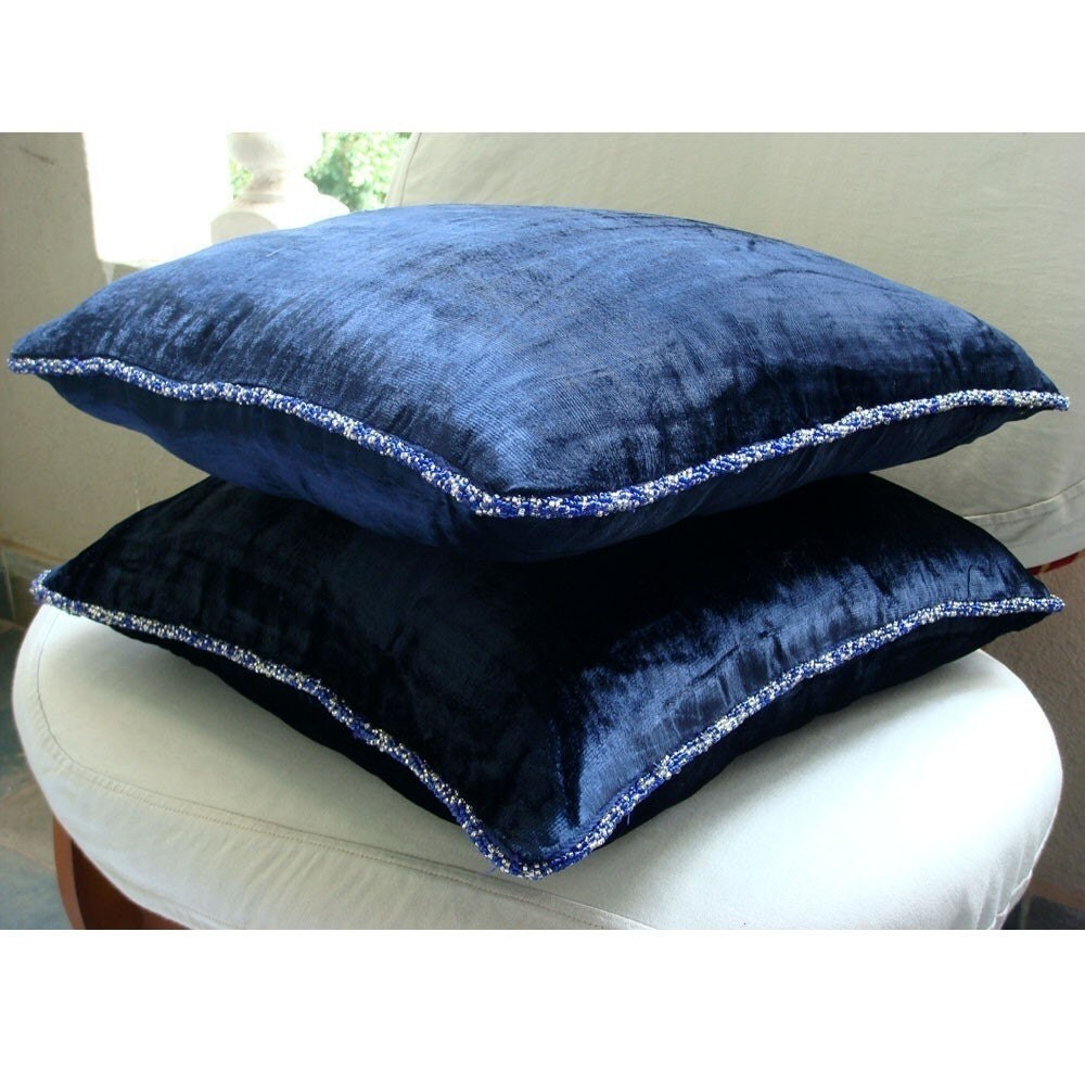 navy shimmer euro sham covers 26x26 inches velvet euro. Black Bedroom Furniture Sets. Home Design Ideas