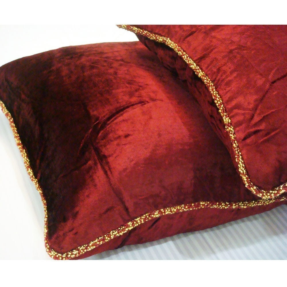 luxury maroon pillows cover 16x16 velvet pillows velvet deco