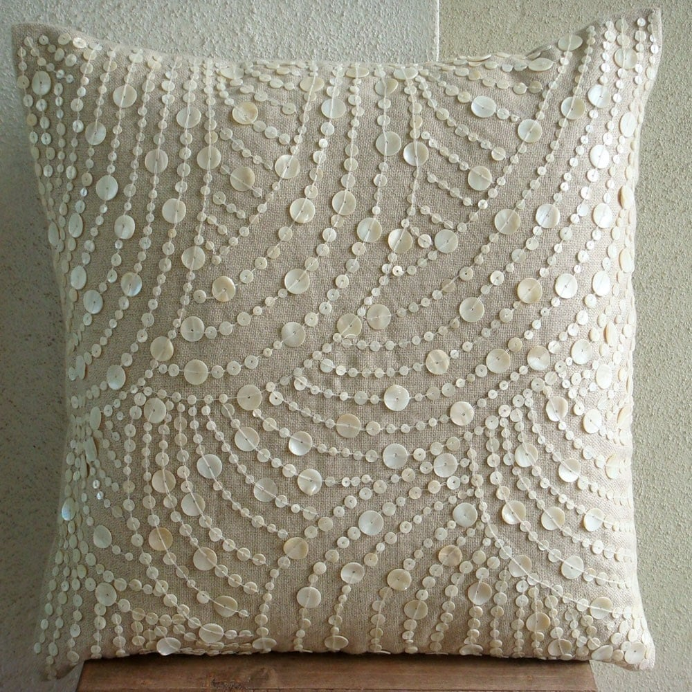 Decorative Pillow With Pearls : Dreams N Pearls Throw Pillow Covers 20x20 Inches Cotton