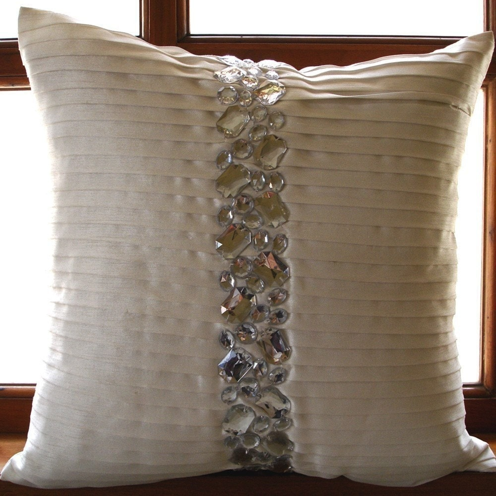 Luxury Decorative Bed Pillows : Luxury White Decorative Pillows Cover 16x16 Silk
