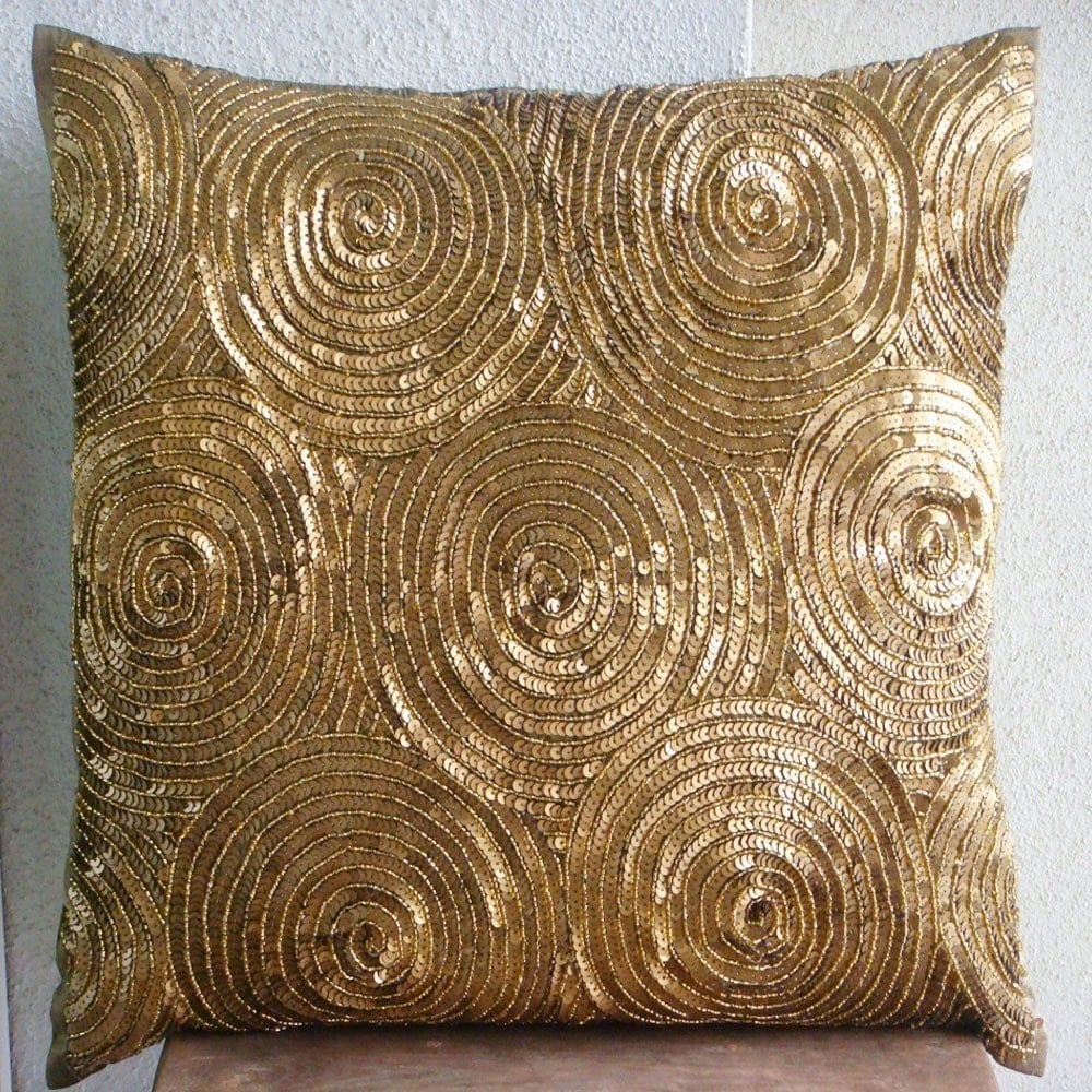 Designer Gold Throw Pillows Cover For Couch 16x16