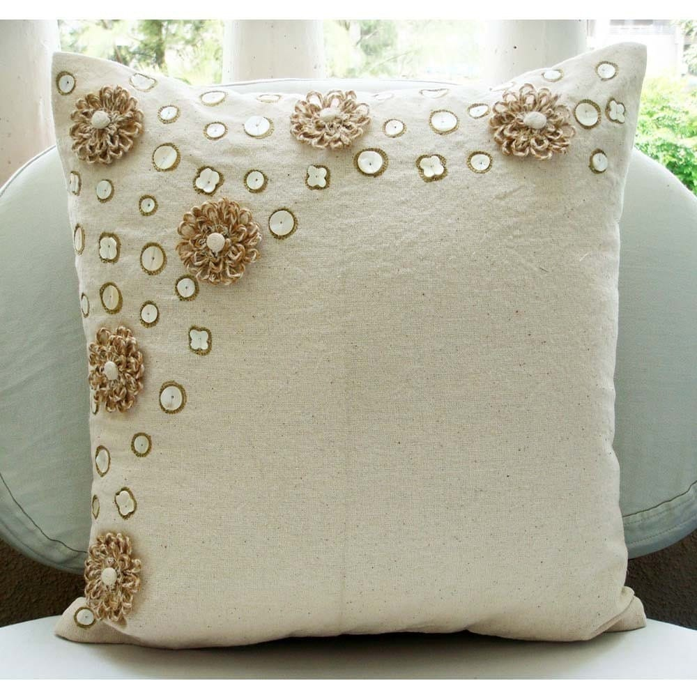 Jute Flowers Throw Pillow Covers 20x20 Inches Jute Cotton