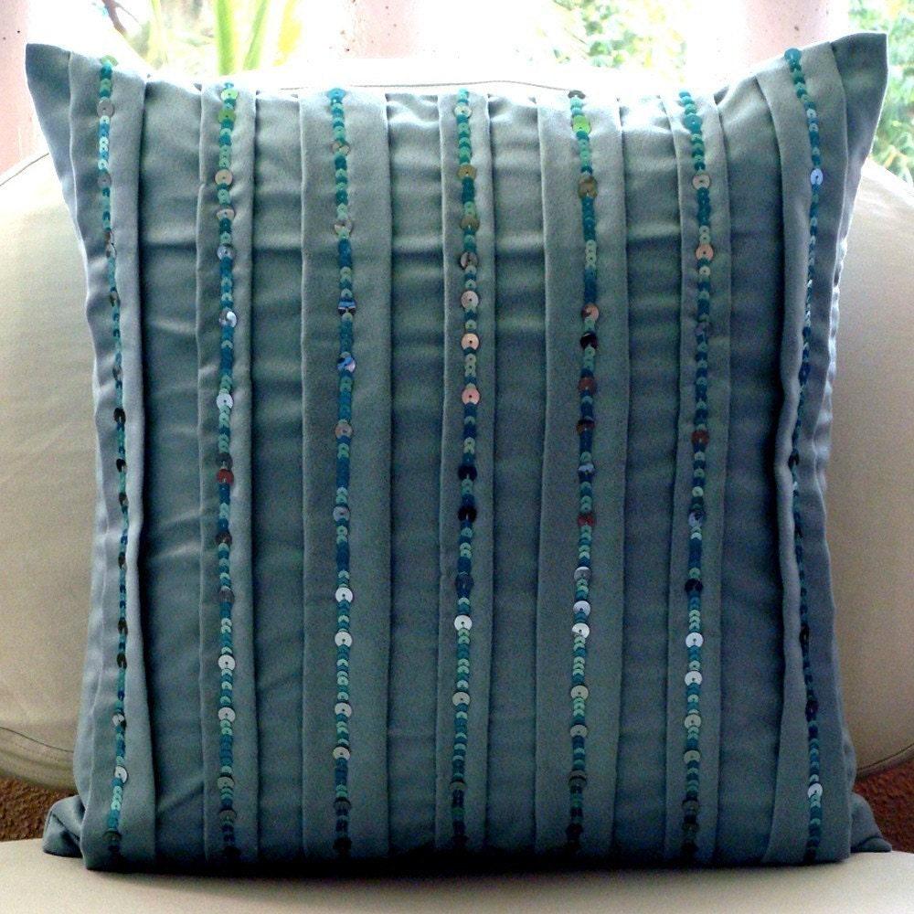 Custom Throw Pillows For Sofa : Designer Blue Throw Pillows Cover For Couch 16x16