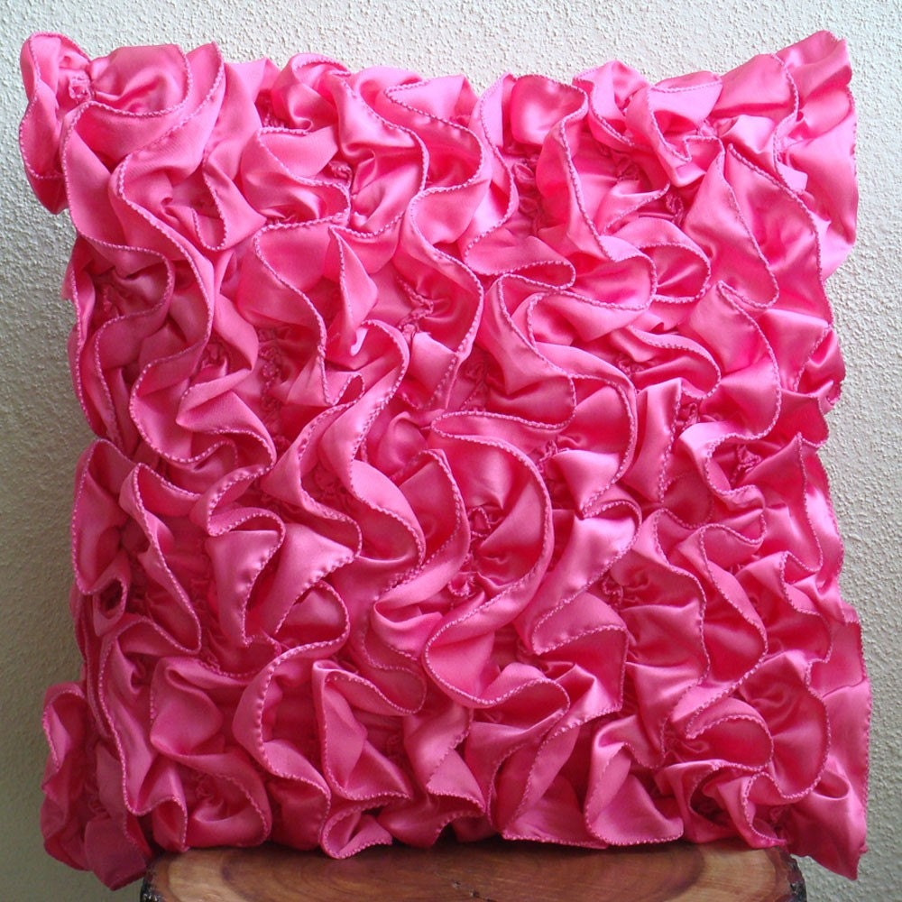 Decorative Pillow Pink : Fuchsia Pink Cushion Covers 16x16 Satin Pillow