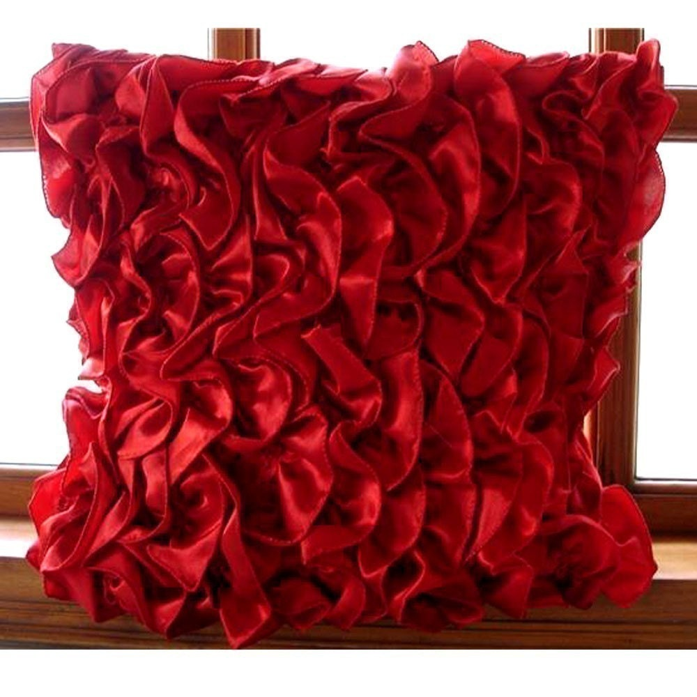 Decorative Pillows For Red Sofa : Handmade Red Cushion Covers 16x16 Satin Pillows