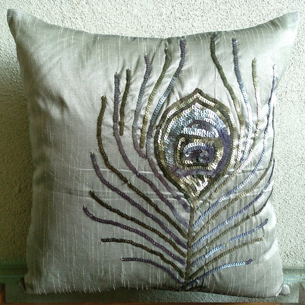 Throw Pillow Covers 20x20 : Items similar to Peacock - Throw Pillow Covers - 20x20 Inches Silk Pillow Cover with Sequin ...