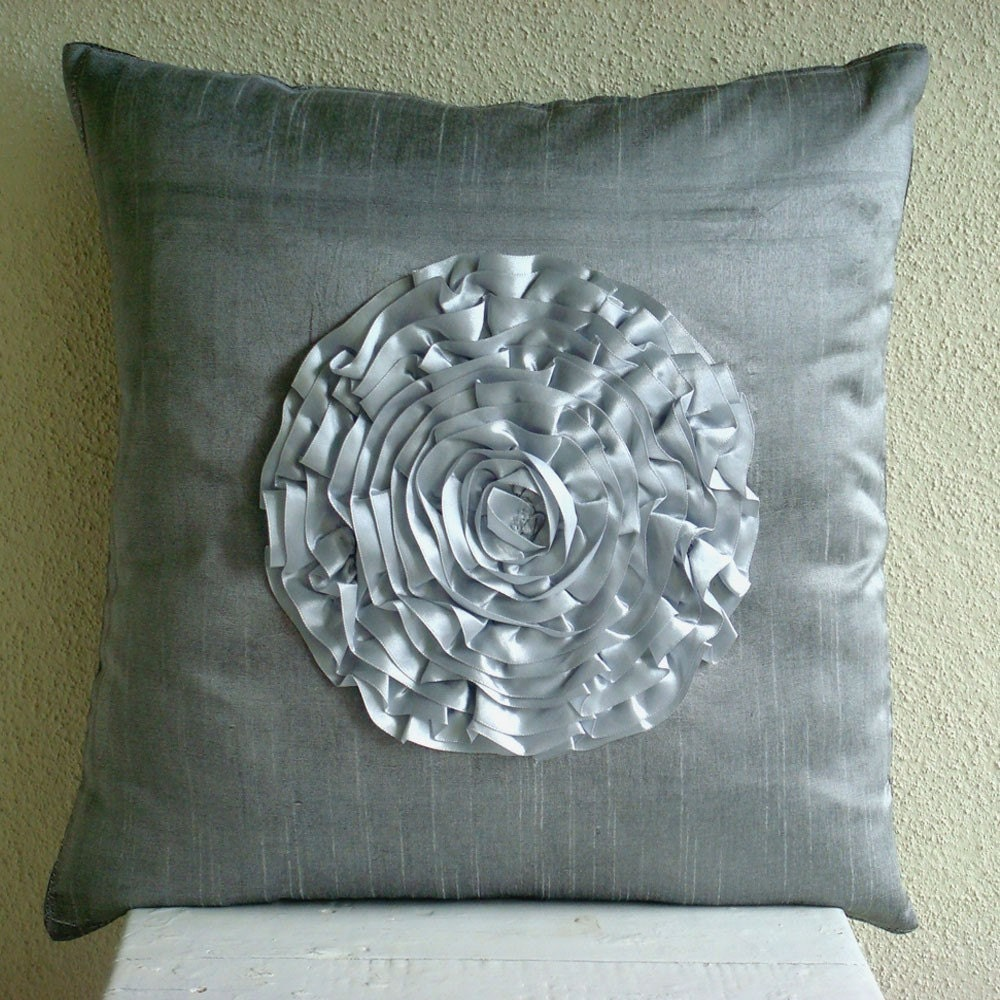 Silver Vintageous Throw Pillow Covers 20x20 Inches Silk