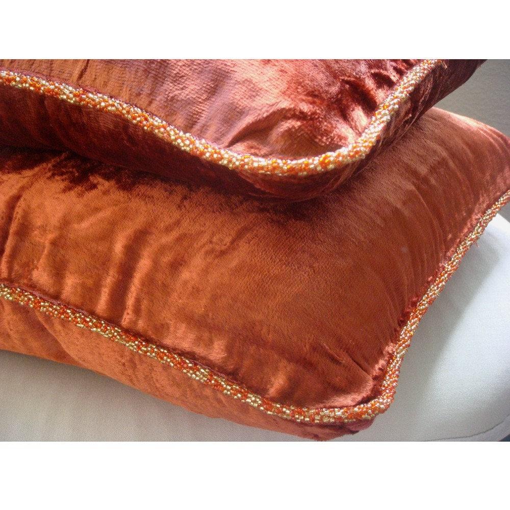 Designer Rust Accent Pillows Velvet Beaded Cord Throw Pillows