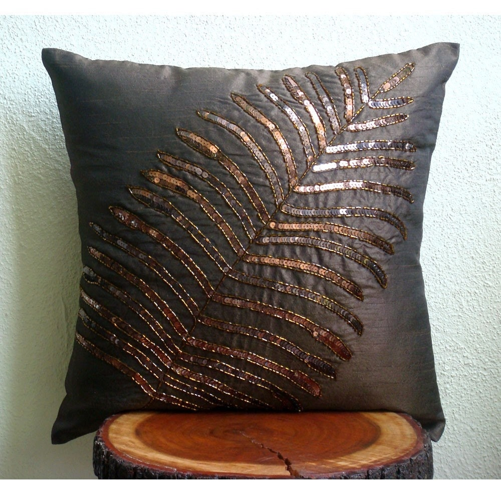 Brown Sofa Pillows: Brown Leaf Throw Pillow Covers 20x20 Inches Silk Pillow