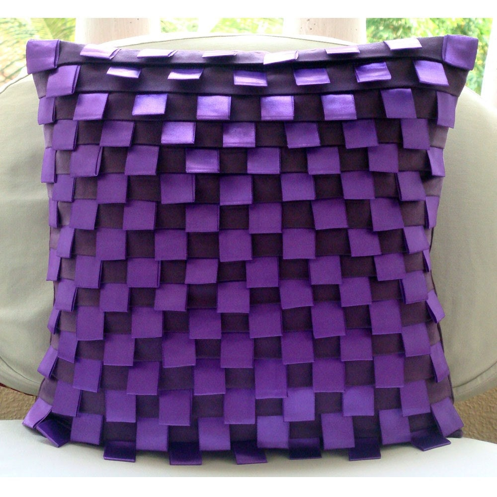 Purple Harmony Throw Pillow Covers 20x20 Inches Suede
