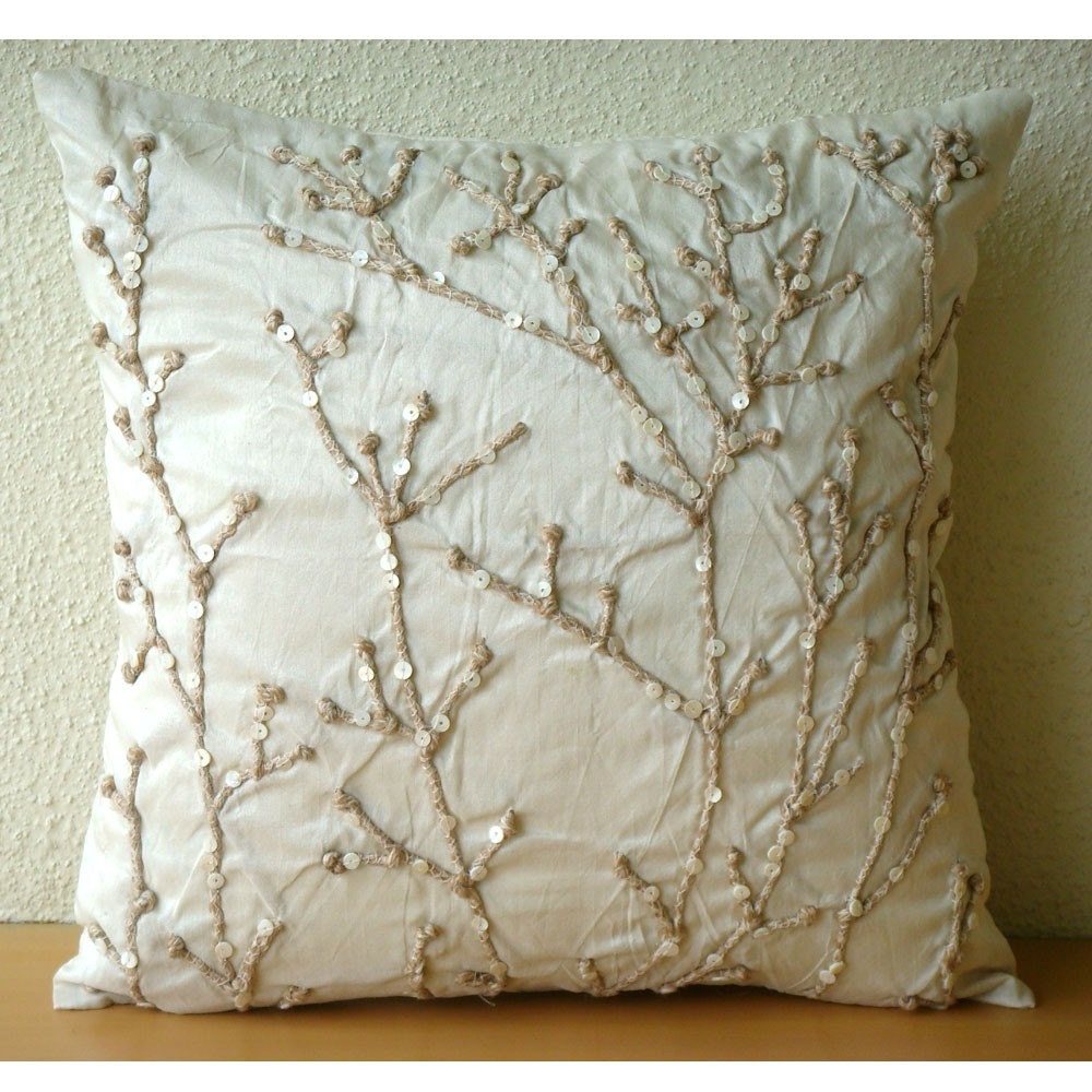 Luxury Throw Pillows For Couch : Luxury Ivory Throw Pillows Cover For Couch 16x16
