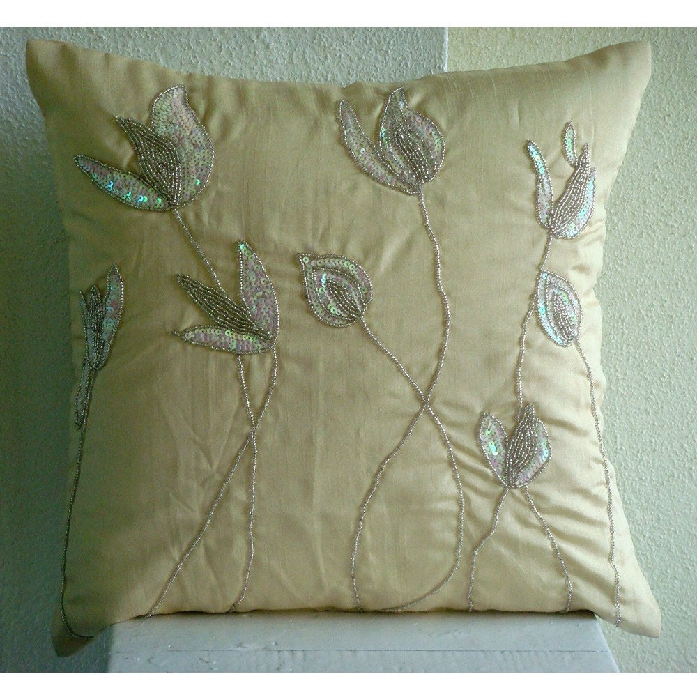 Cream Sequin Throw Pillows : Cream Pillows Cover 16x16 Silk Throw Pillows