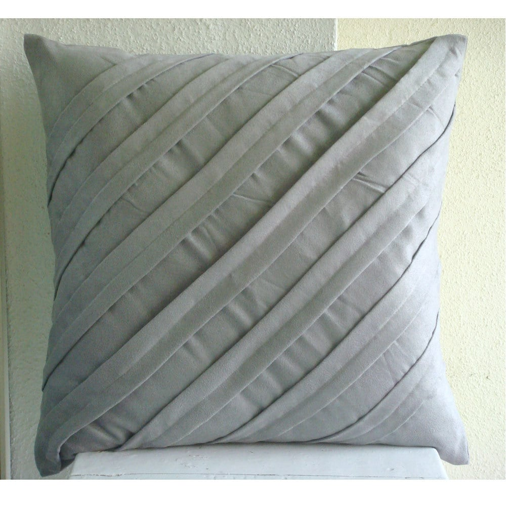 Light Grey Pillow Covers Square Textured Pintucks Solid