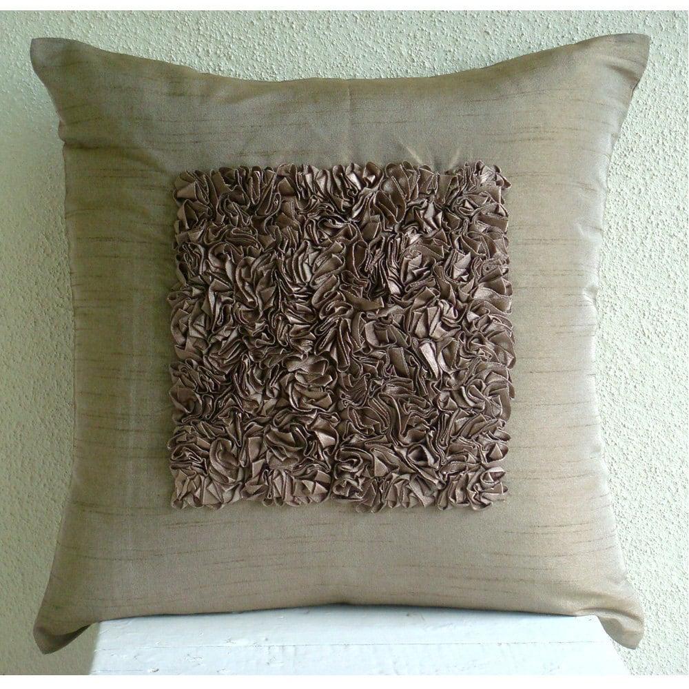 Brown Textured Throw Pillow : Handmade Textured Ribbon Throw Pillows Cover Light Brown