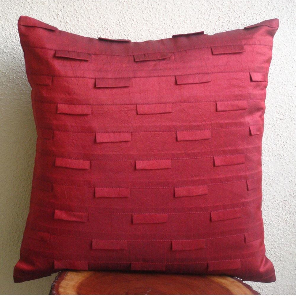 Handmade Deep Red Throw Pillows Cover 16x16 Silk